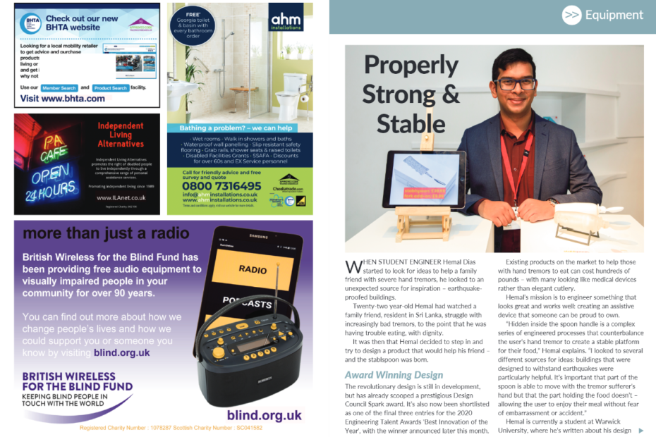 Double page spread of the living with disability magazine
